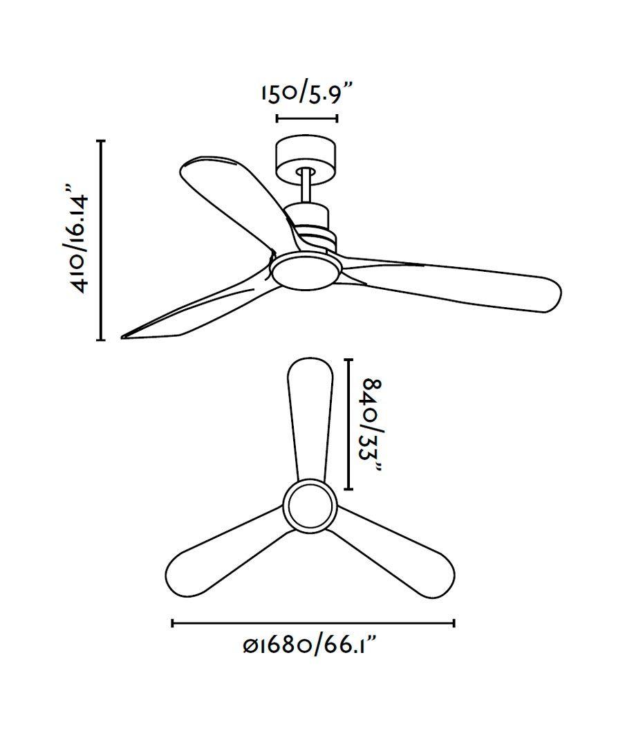 Ventilador níquel LANTAU-G LED medidas