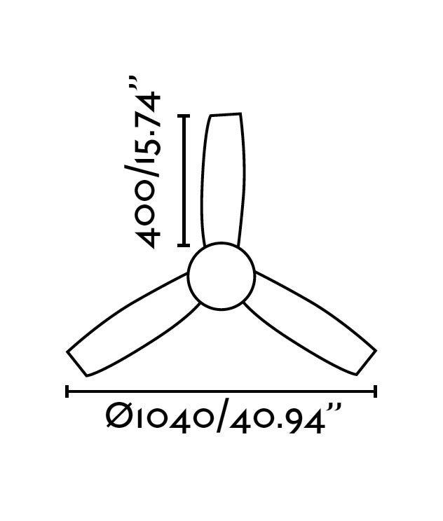 Ventilador techo blanco MINI UFO medidas 2