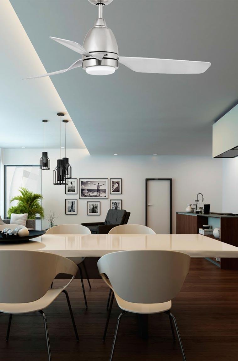 Ventilador techo níquel FOGO LED ambiente