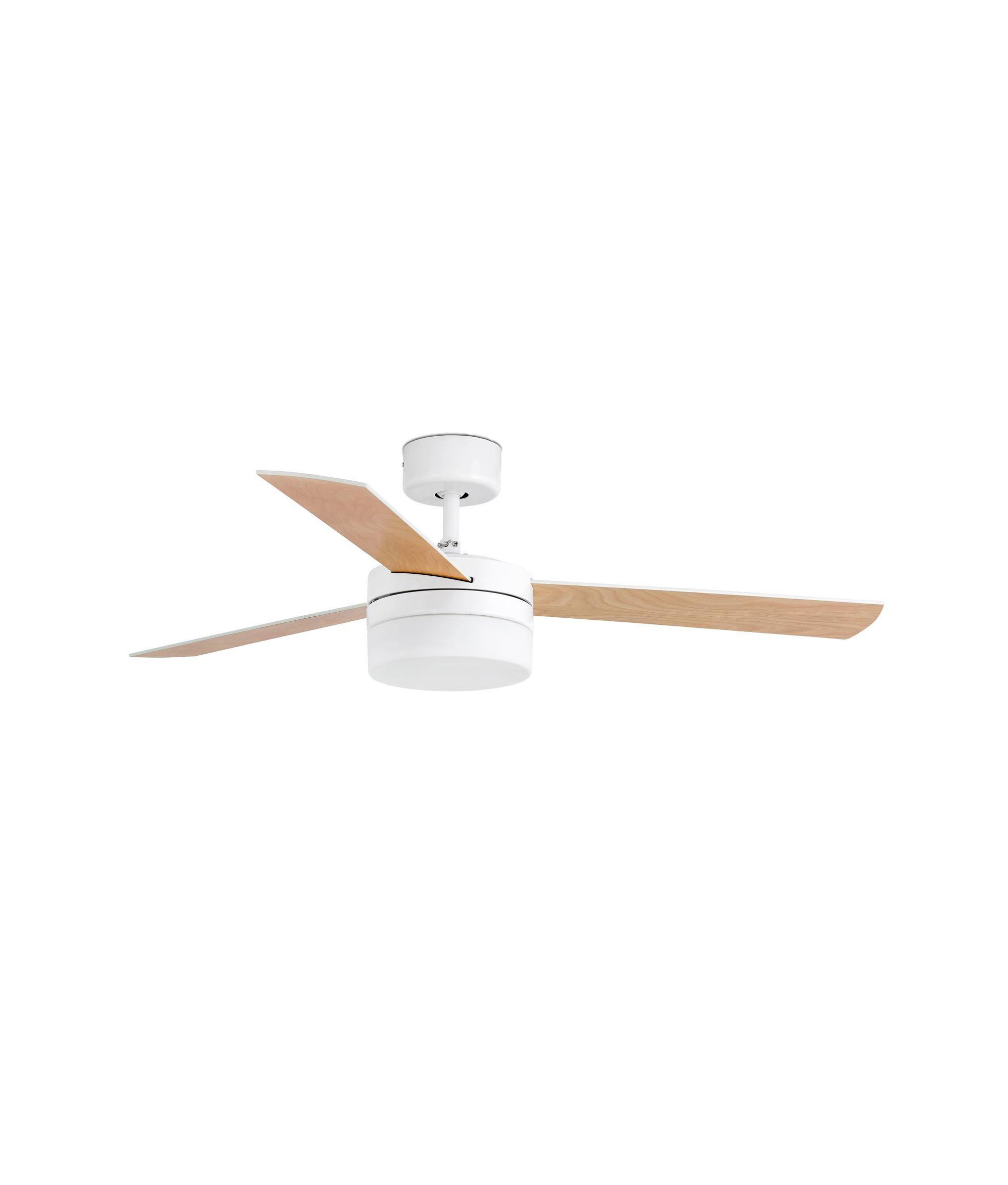 Ventilador de techo blanco PANAY con las palas reversibles en acabado arce