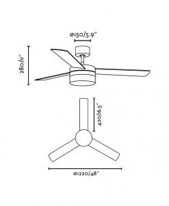 Ventilador de techo blanco PANAY medidas