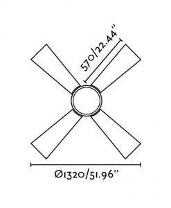 Ventilador de techo blanco TIMOR medidas 2