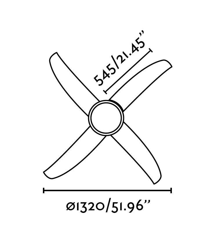 Ventilador de techo blanco WIND medidas 2