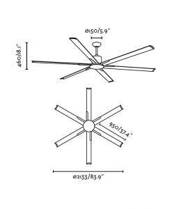 Ventilador de techo gris ANDROS medidas