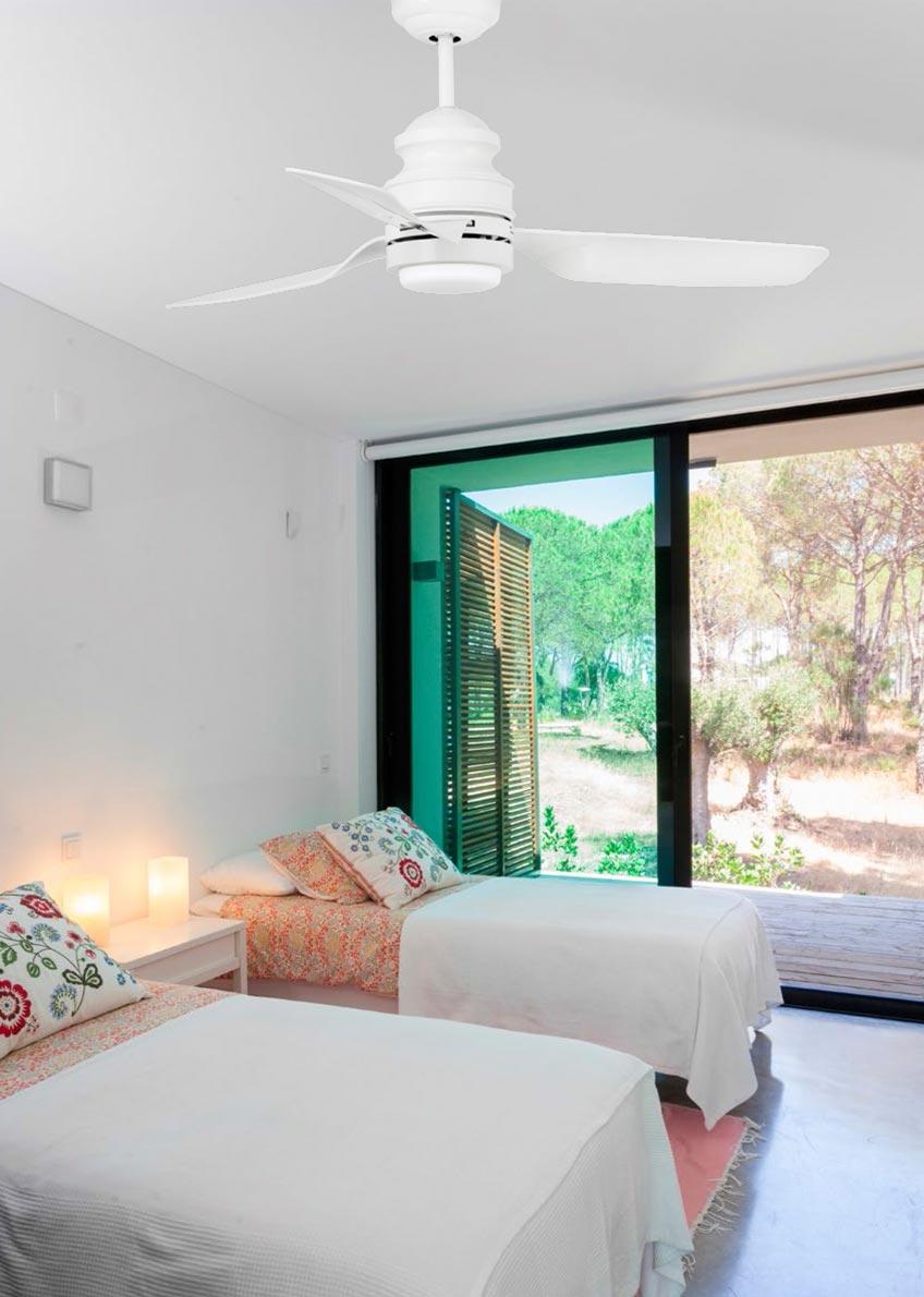Ventilador de techo LED blanco PHUKET ambiente