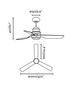 Ventilador de techo LED blanco PHUKET medidas