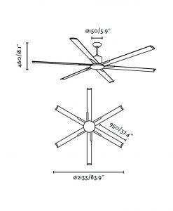 Ventilador de techo marrón ANDROS medidas