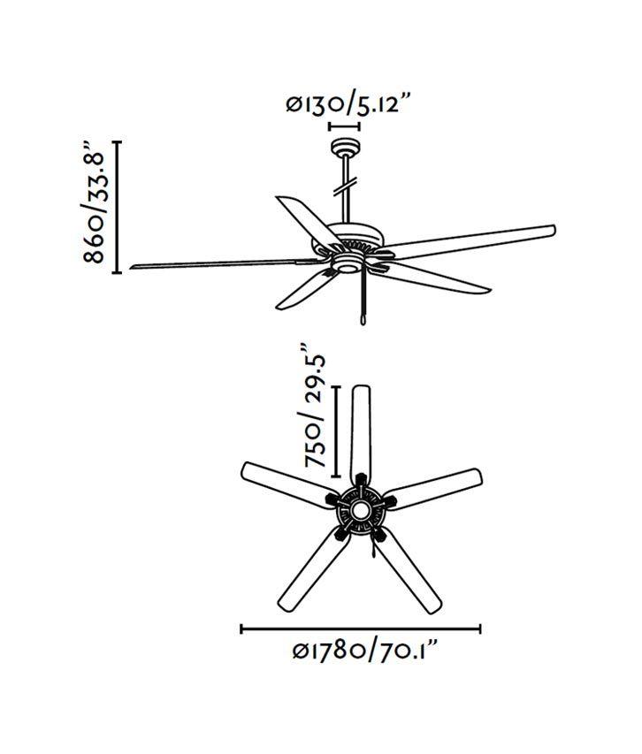 Ventilador de techo marrón NISOS medidas