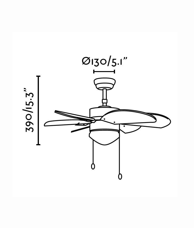 Ventilador de techo marrón PALAO medidas