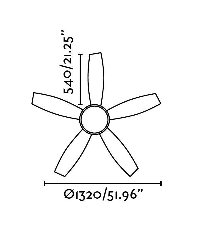 Ventilador de techo marrón VANU medidas 2