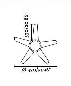 Ventilador de techo níquel OVNI medidas 2
