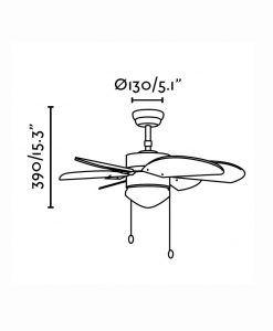 Ventilador de techo níquel PALAO medidas