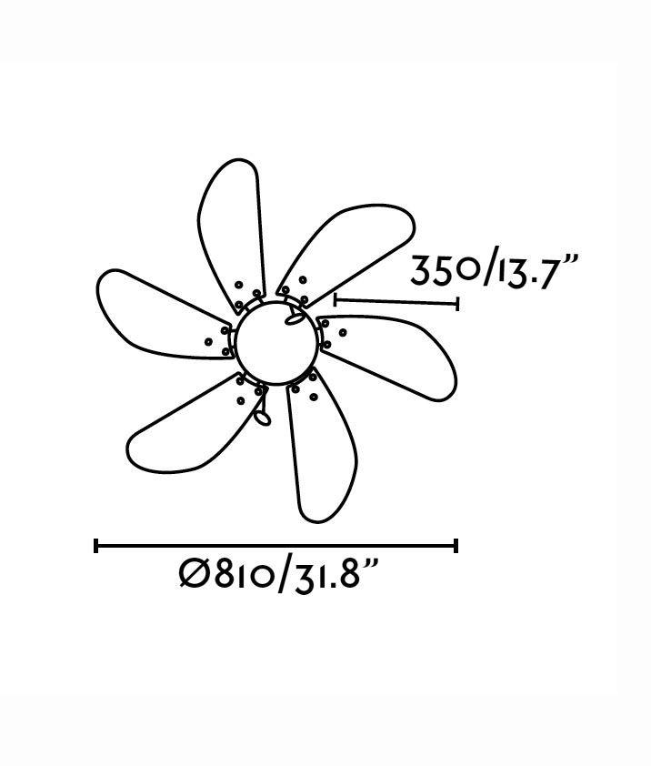 Ventilador de techo níquel PALAO medidas 2