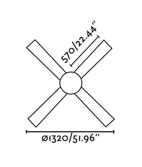 Ventilador de techo níquel PALK medidas 2