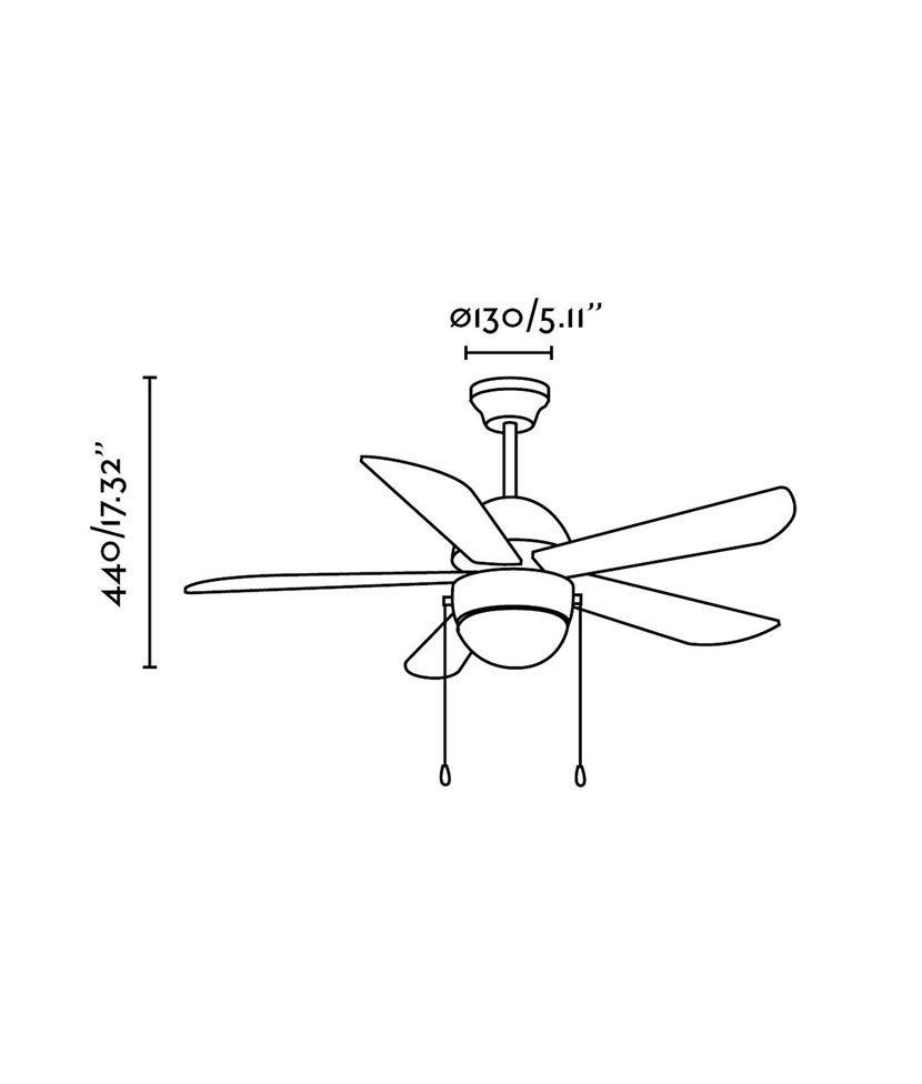 Ventilador de techo níquel VENETO medidas