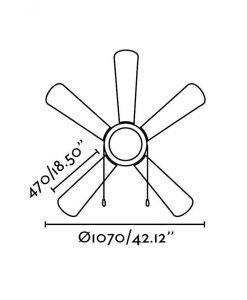 Ventilador de techo níquel VENETO medidas 2