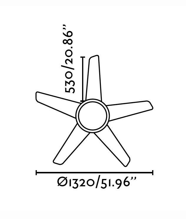 Ventilador de techo oro OVNI medidas 2