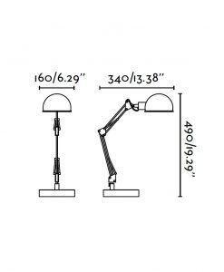 Lámpara flexo blanca BAOBAB medidas