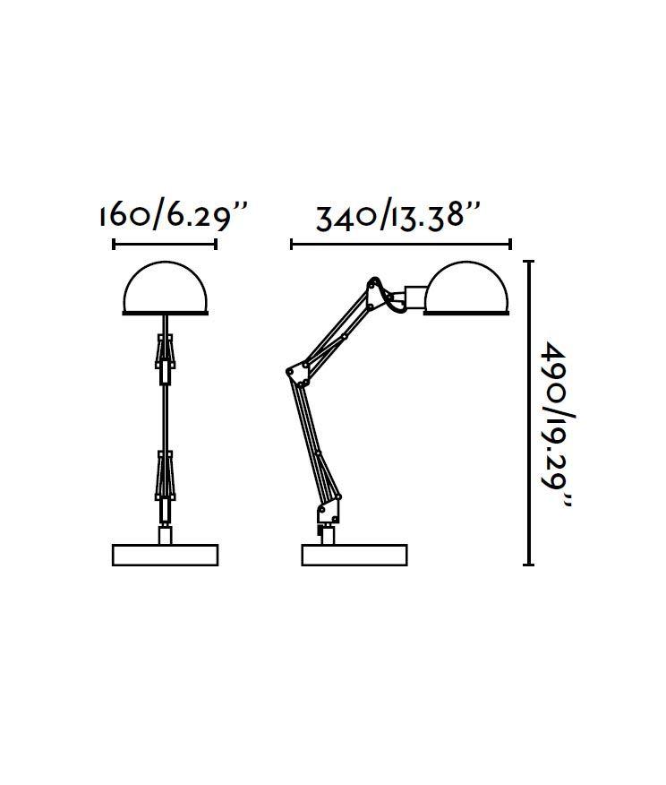 Lámpara flexo gris BAOBAB medidas