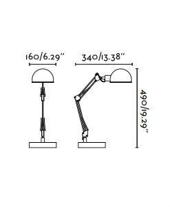 Lámpara flexo negra BAOBAB medidas