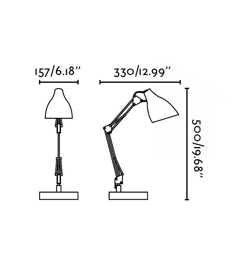 Lámpara flexo negra GRU medidas