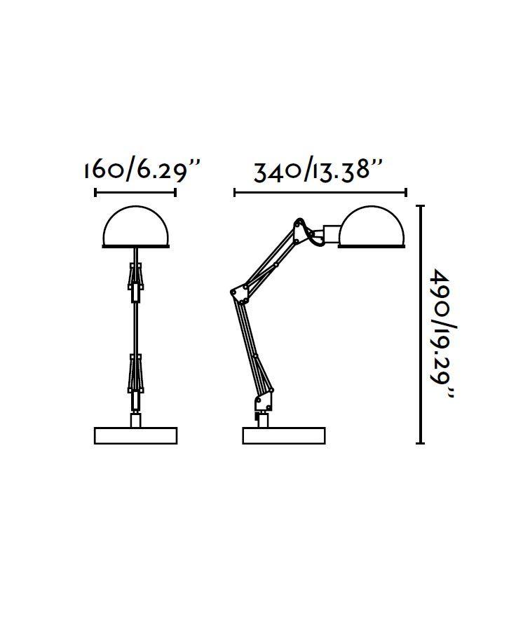 Lámpara flexo verde BAOBAB medidas