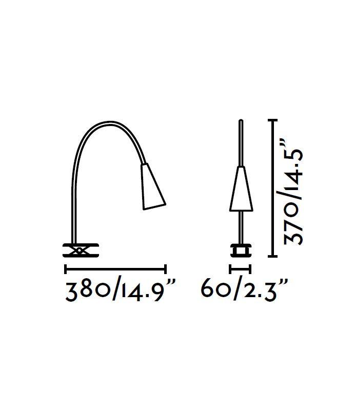 Lámpara pinza blanca LENA LED medidas