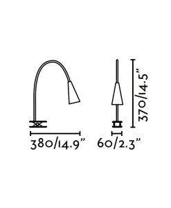 Lámpara pinza negra LENA LED medidas