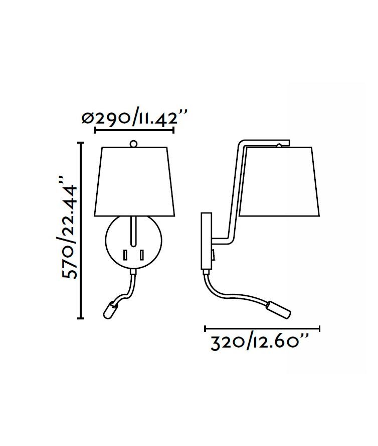 Aplique con lector LED blanco BERNI medidas