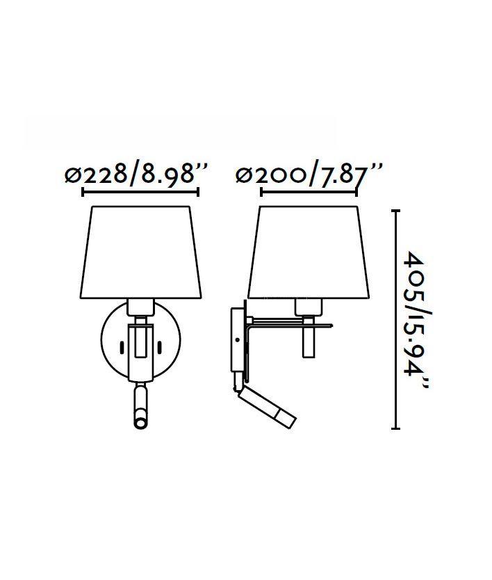 Aplique con lector LED FUSTA blanco medidas