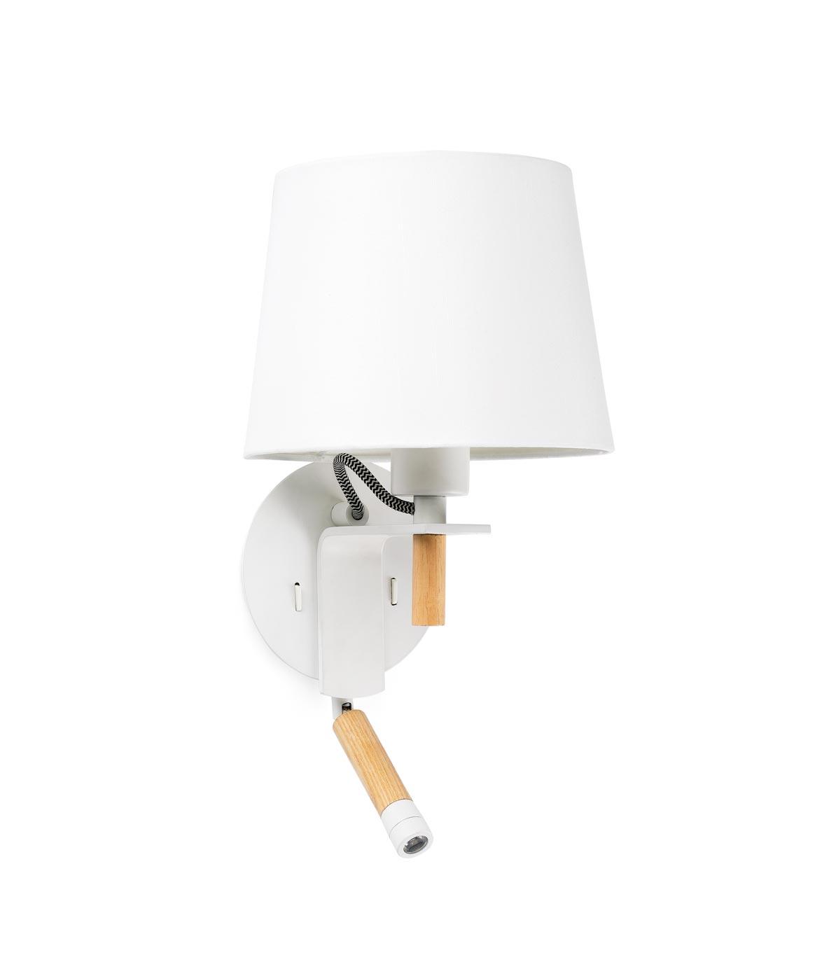 Aplique con lector LED FUSTA blanco