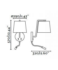 Aplique con lector LED negro BERNI medidas