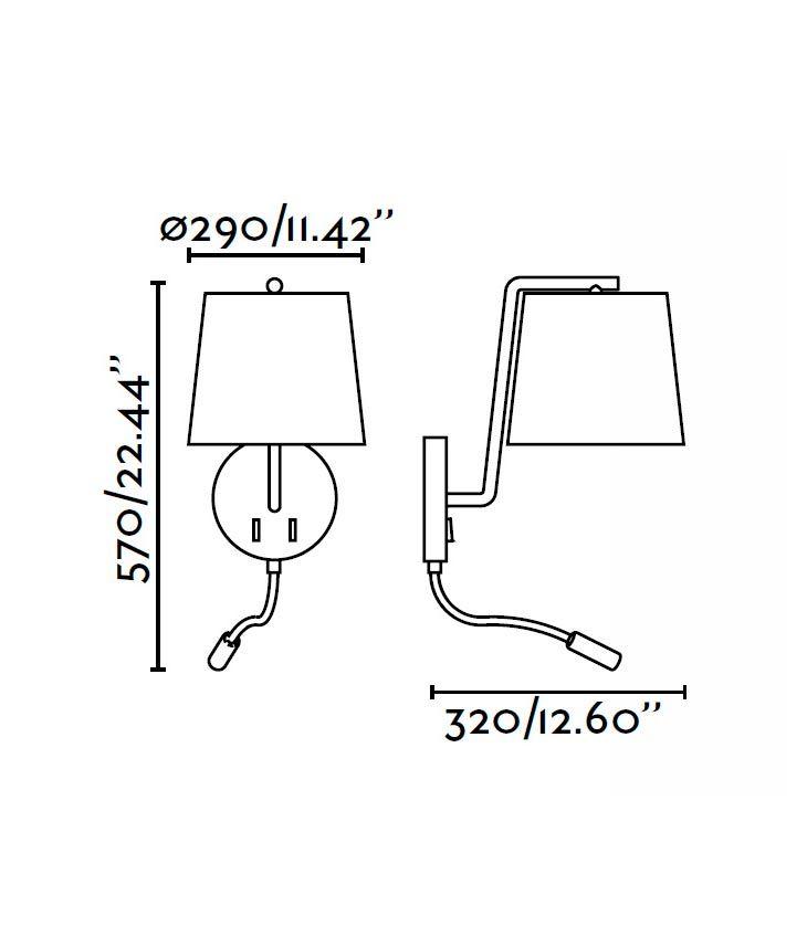 Aplique con lector LED níquel BERNI medidas