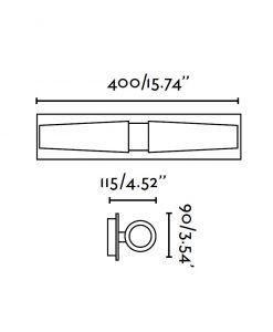 Aplique de baño 2 luces DOKA cromo medidas