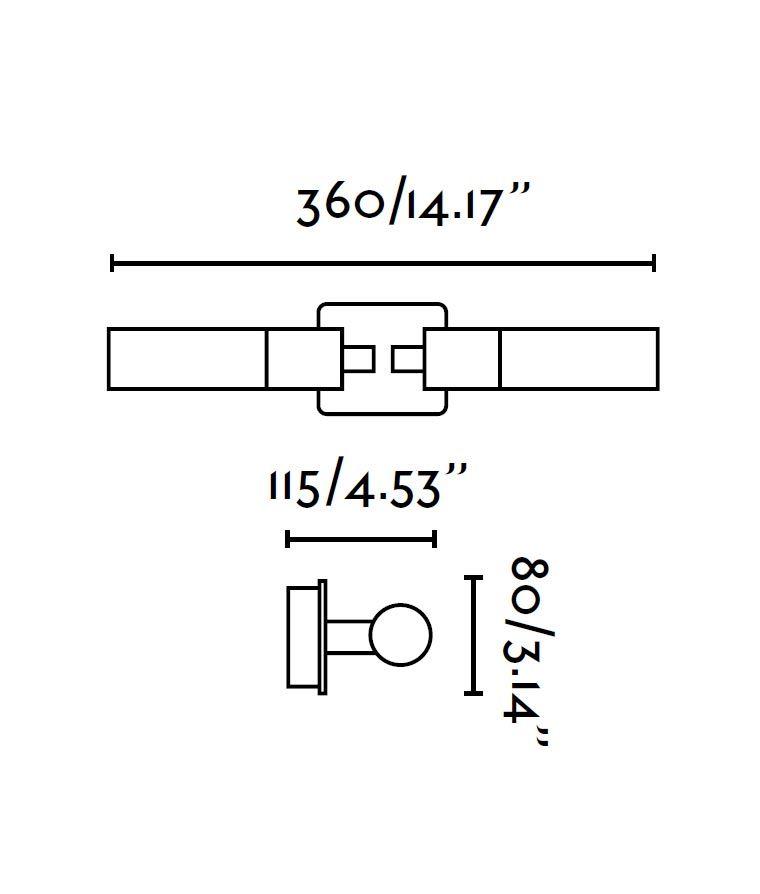 Aplique de baño 2 luces LAOS cromo medidas