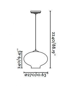Lámpara colgante transparente ALMA medidas
