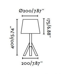 Lámpara de mesa HAT blanca medidas