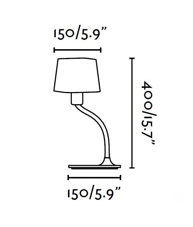 Lámpara de mesa verde FLEXI medidas