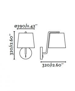 Lámpara de pared blanca BERNI medidas
