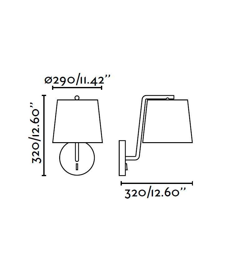 Lámpara de pared negra BERNI medidas