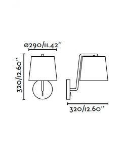 Lámpara de pared níquel BERNI medidas