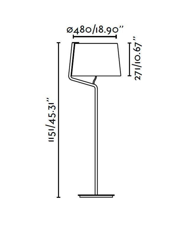 Lámpara de pie blanca BERNI medidas