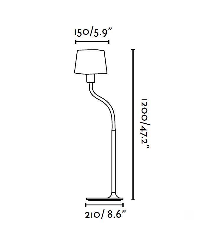 Lámpara de pie fucsia FLEXI medidas
