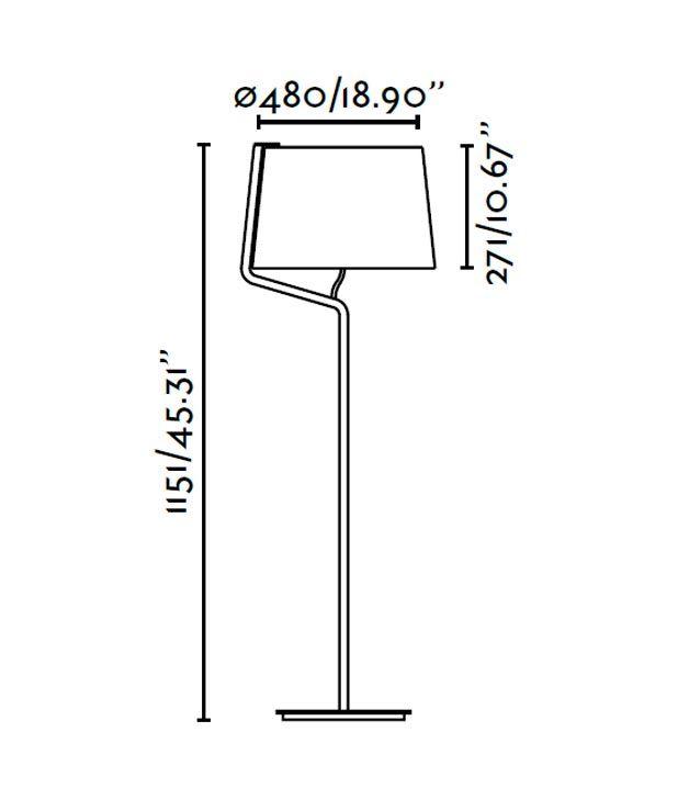 Lámpara de pie negra BERNI medidas