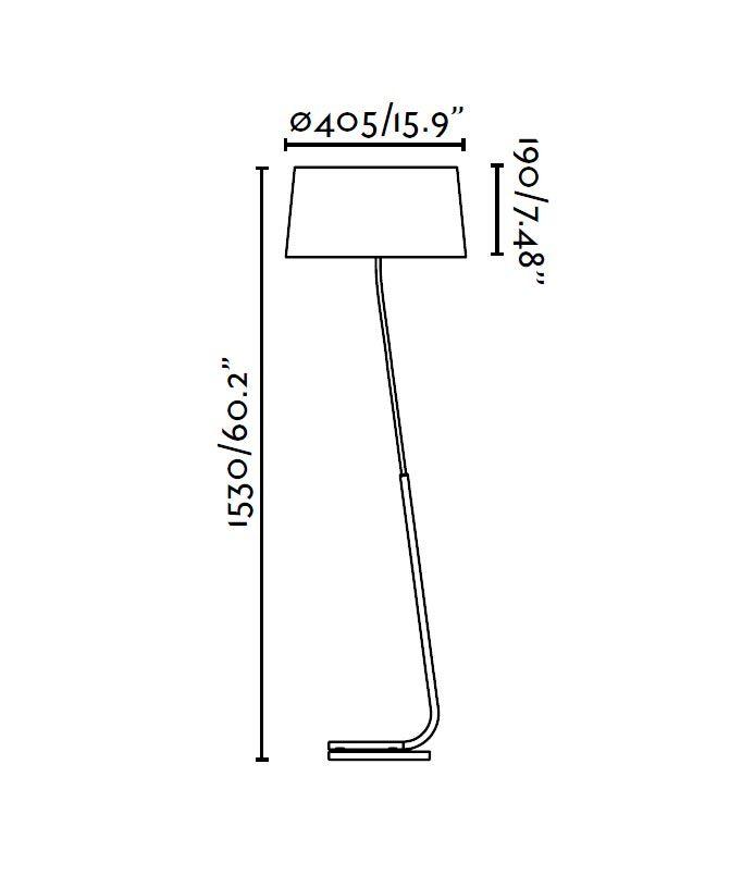 Lámpara de pie negra HOTEL medidas