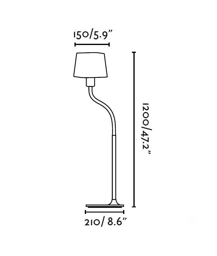 Lámpara de pie verde FLEXI medidas