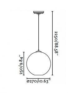 Lámpara de techo CLARA transparente medidas