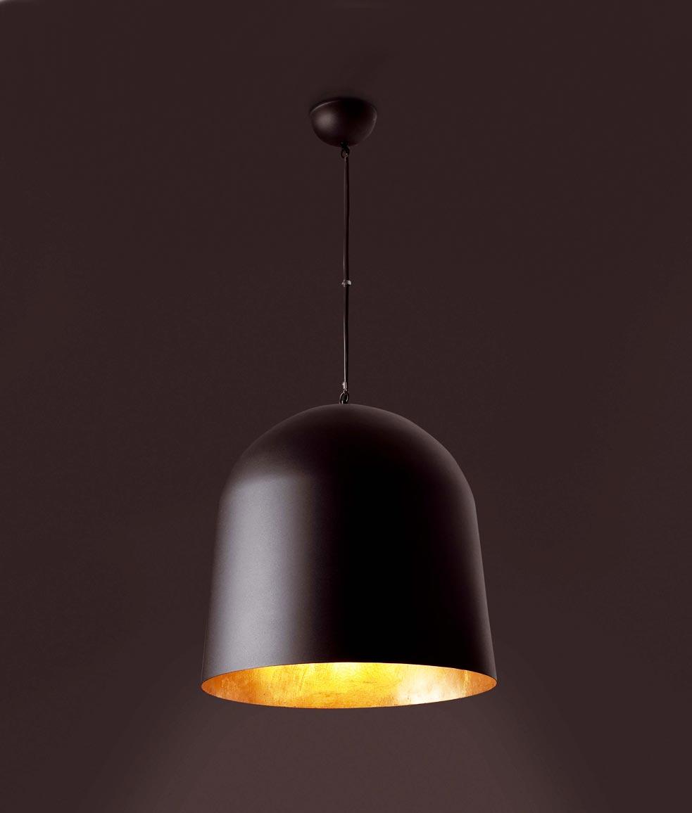Lámpara de techo CRATER negra detalle