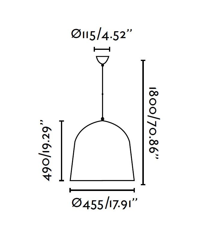 Lámpara de techo CRATER negra medidas