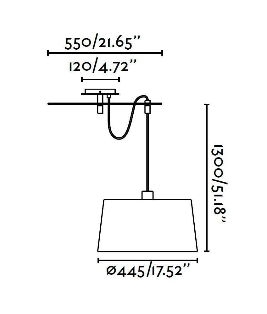 Lámpara de techo FUSTA blanca medidas